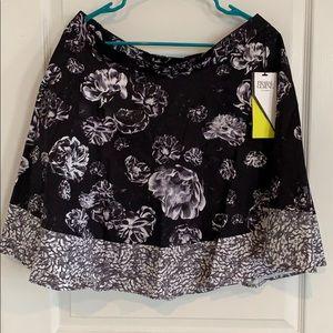 NWT Prabal Gurung Black Floral Skirt